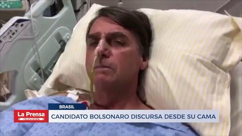 Candidato Bolsonaro discursa desde su cama