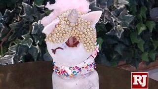 Making a unicorn-doughnut-topped shake at Saint Honore' in Las Vegas
