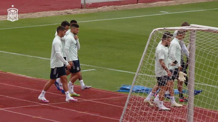 Entrenamiento de la selección española de cara al partido contra Alemania