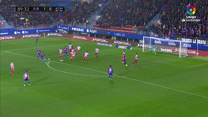 Gol de Edu Expósito (2-0) en el Eibar 2-0 Atlético
