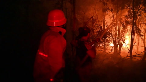 Los bomberos luchan sin descanso contra los incendios en Indonesia