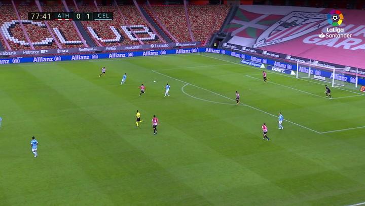 Gol de Aspas (0-2) en el Athletic 0-2 Celta