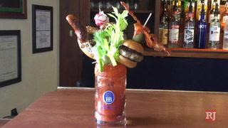 Making the Ausser Rand und Band (Over the Top) bloody mary at the Hofbrauhaus Las Vegas