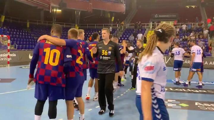 El Barça celebró su victoria ante el Granollers