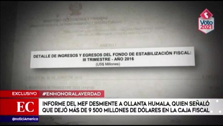 Informe del MEF desmiente a Humala, luego de afirmar que dejó más de $9500 millones en caja fiscal