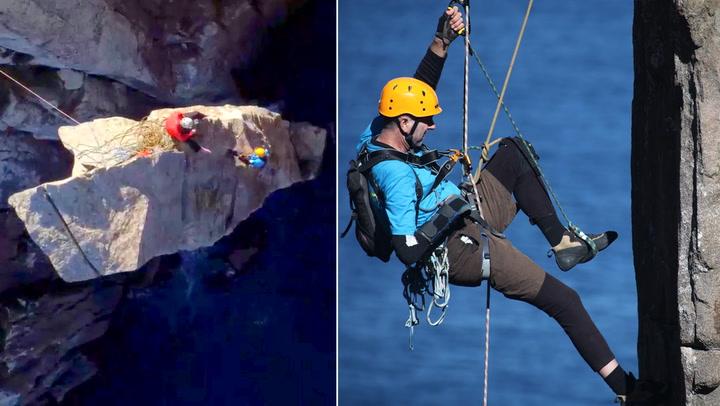 Her klatrer han opp klippen som nesten ble hans død