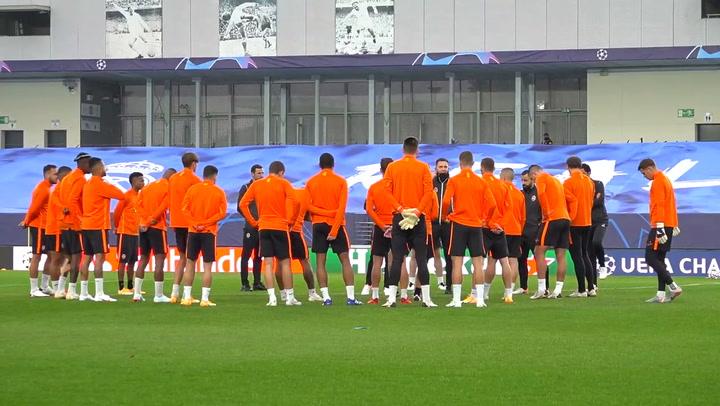Último entrenamiento del Shakhtar previo al partido de Champiosn contra el Real Madrid