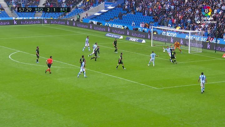 Gol de Portu (3-1) en el Real Sociedad 3-1 Real Betis