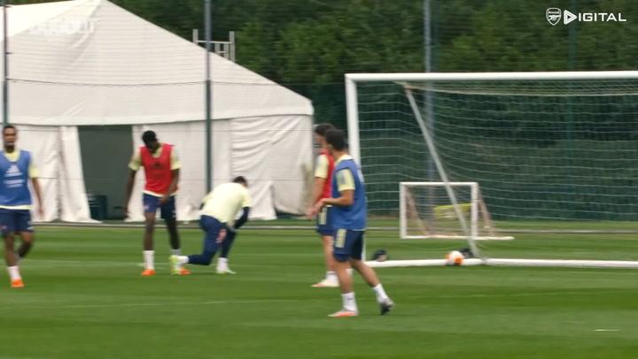 Pierre-Emerick Aubameyang scores brilliant individual goal in Arsenal training