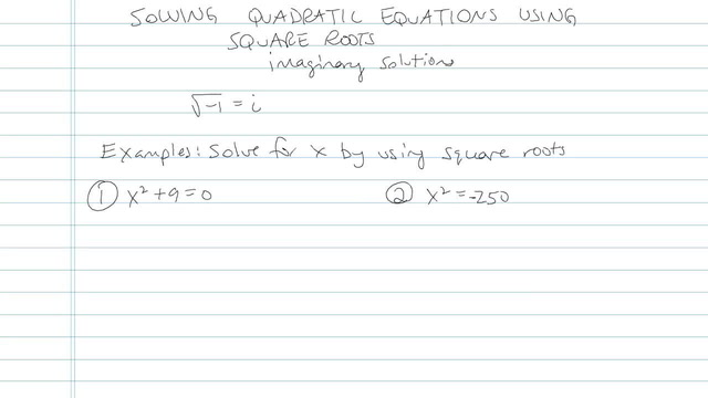 Solving Quadratic Equations Using Square Roots - Problem 11