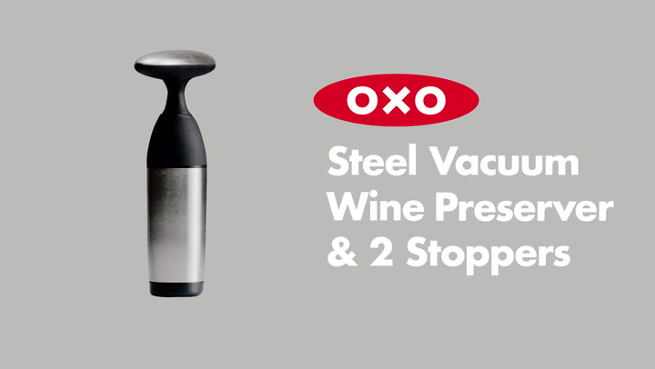 Preview image of OXO Vacuum Wine Preserver & 2 Stoppers video