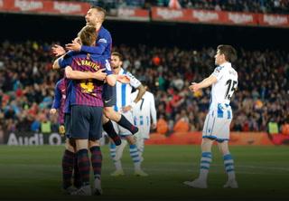 Barcelona cumple ante la Real Sociedad y acaricia el título de la Liga de España