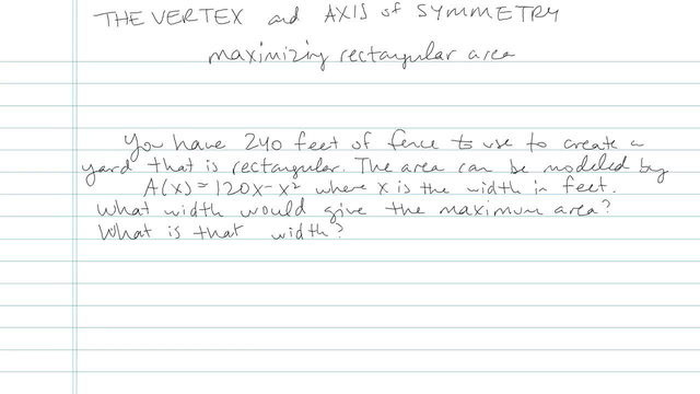 The Vertex and Axis of Symmetry - Problem 7