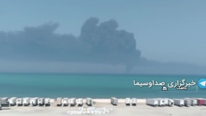 Enormous plume of smoke billows from Iranian warship that caught fire and sank