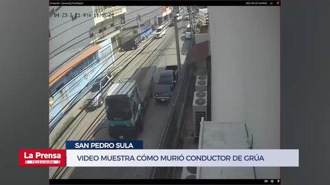 Video muestra cómo murió conductor de grúa tras caerle vehículo en San Pedro Sula