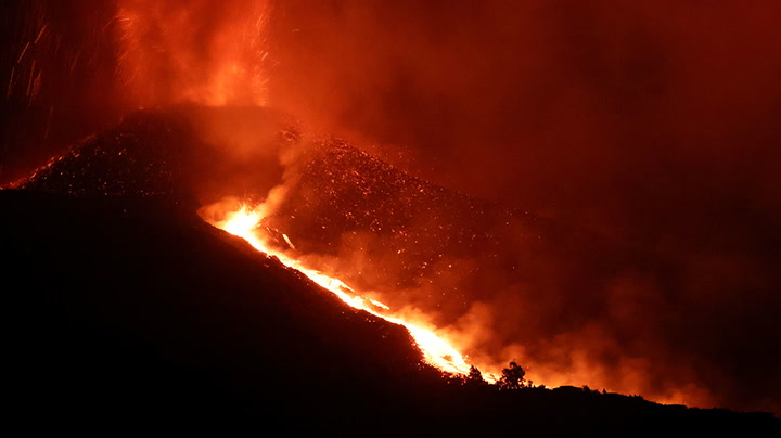 Watch live as the La Palma volcano continues to spew lava