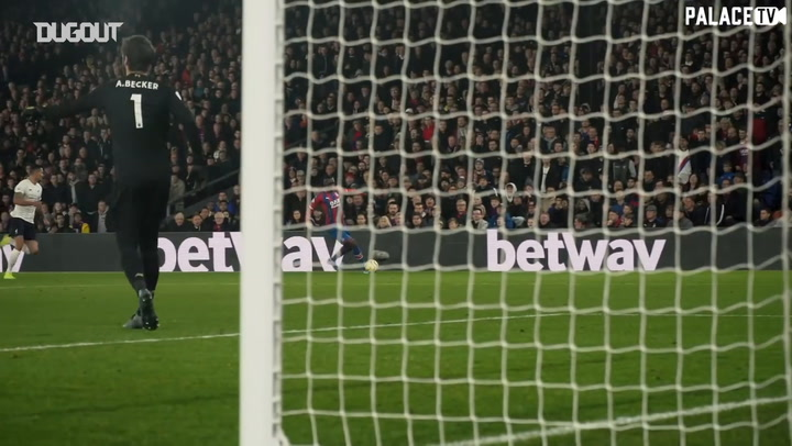 Behind the goal for Wilfried Zaha's goal vs Liverpool