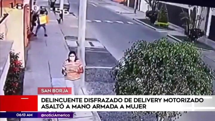 San Borja: mujer es asaltada por un delincuente disfrazado de repartidor de delivery