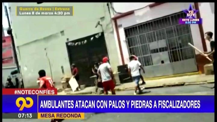 Mesa Redonda: vendedores ambulantes atacan con palos y piedras a fiscalizadores