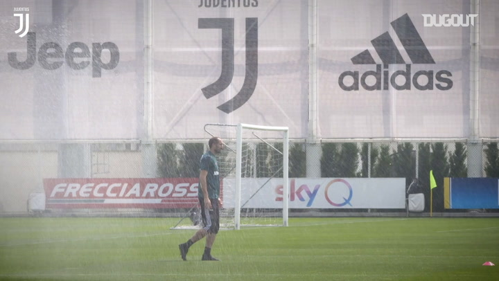 Juventus players complete drills as training continues