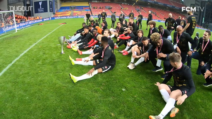 Behind the scenes: FC Midtjylland players celebrate winning the Danish Cup
