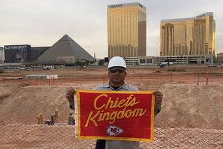 Chiefs flag buried under Raiders stadium site in Las Vegas