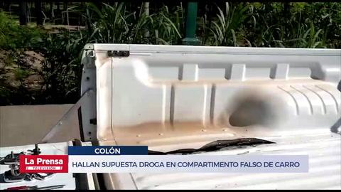 Hallan supuesta droga en compartimento falso de carro pick up en Colón