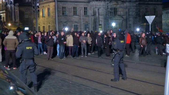 Onrust in Dresden na viering Pegida