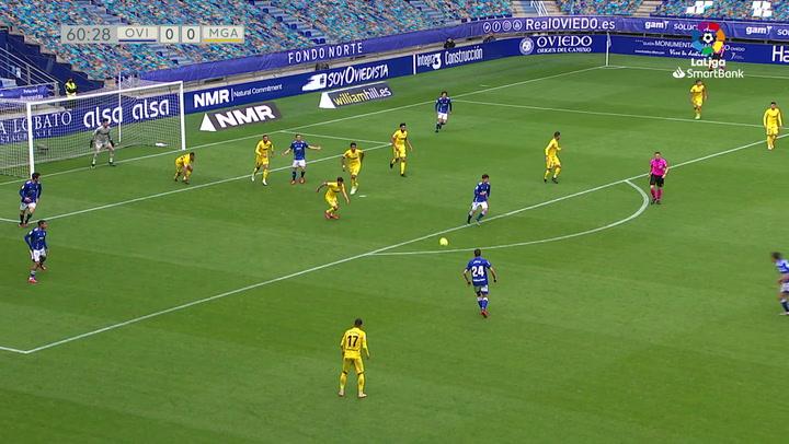 El golazo de Lucas Ahijado que decidió el Oviedo-Málaga