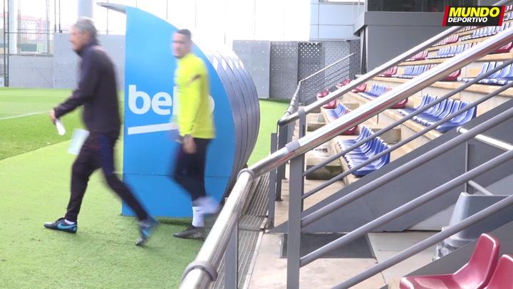 Entrenamiento del Barça previo al partido contra el Levante