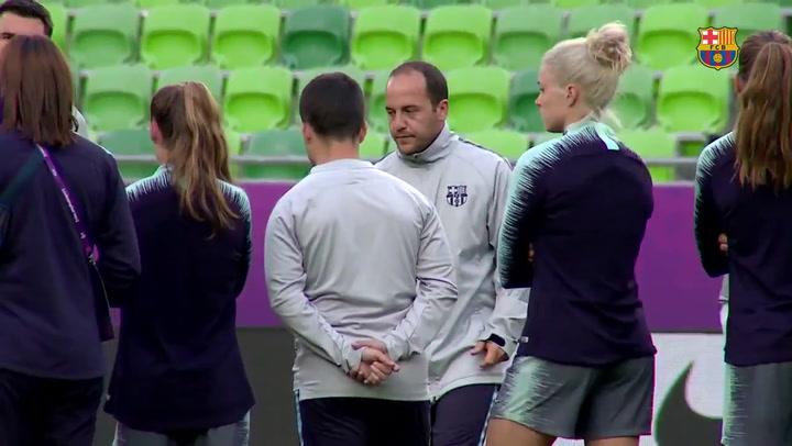 El Barça femenino prepara la final en el Ferencváros Stadium
