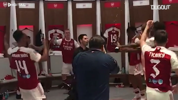 Arsenal celebrate 2020 FA Cup win inside Wembley dressing room