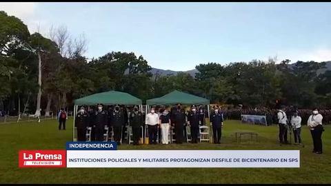 Instituciones policiales y militares protagonizan desfile de Bicentenario en SPS