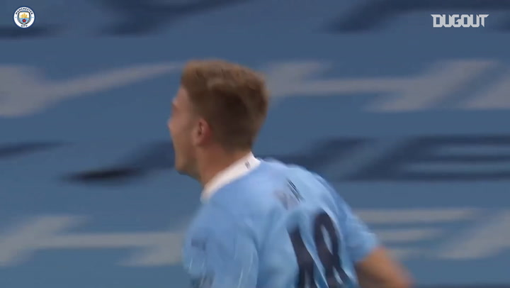 Liam Delap's first Man City goal