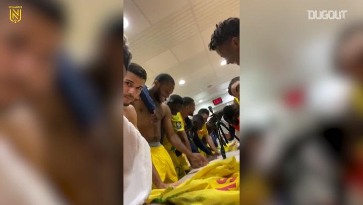 FC Nantes' celebrations after winning at Brest