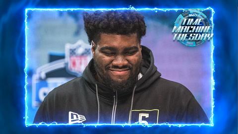 Mekhi Becton looks towards New York at the 2020 NFL Combine