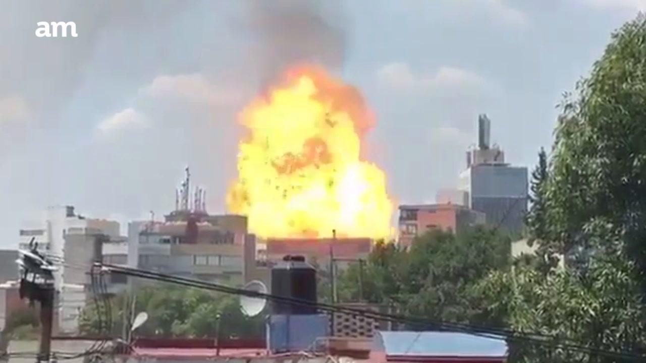 Explota tubería de gas por sismo