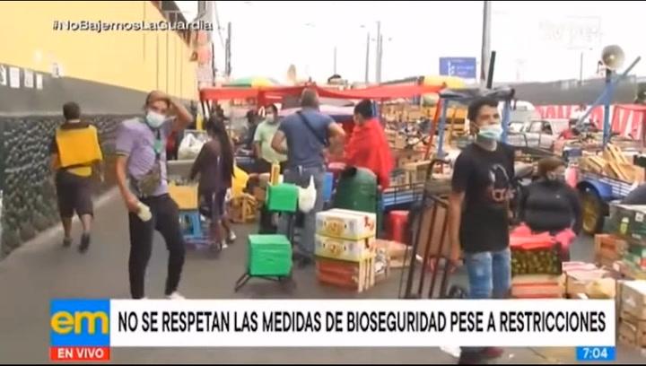 Reportan caos e incumplimiento de medidas en el Mercado de Frutas tras levantamiento de cuarentena