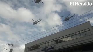 Helicópteros surcan el cielo a inmediaciones del Nacional de Tegucigalpa