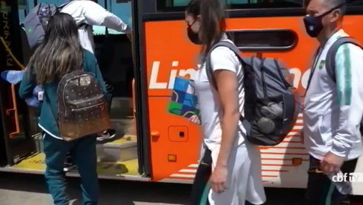 Brazil's Women Soccer squad arrive in Tokyo for the Olympic Games