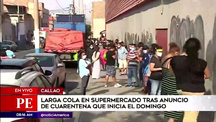 Cuarentena: Se registran largas colas en supermercados tras anuncio de nuevas medidas por segunda ola