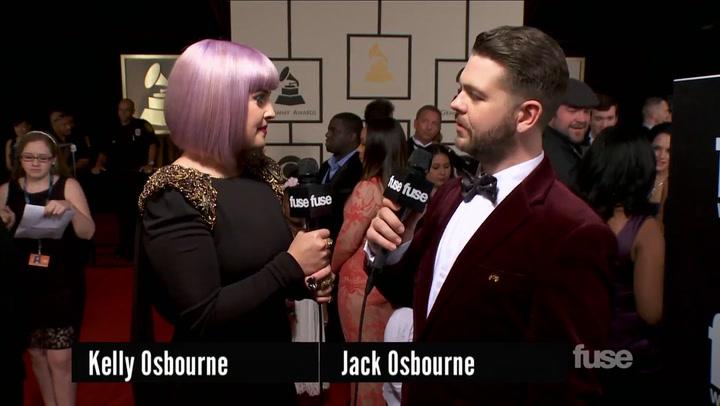 Kelly Osbourne Talks Ozzy's Cross With Jack Osbourne on GRAMMY Red Carpet
