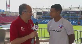 Bryan Acosta hablando sobre el partido contra el Houston Dynamo