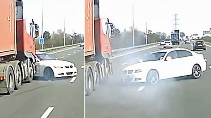 Unngår å bli knust av lastebilen