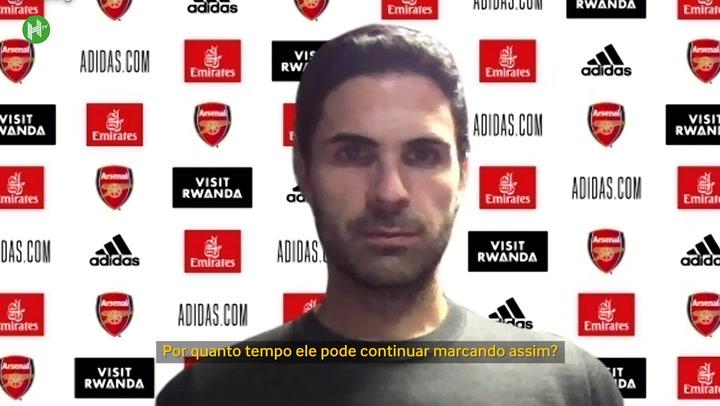Arteta rasga elogios e espera manter Aubameyang no Arsenal