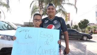 Padre e hijo se llaman Omar Elvir y cumplen su sueño de conocer al jugador de Motagua