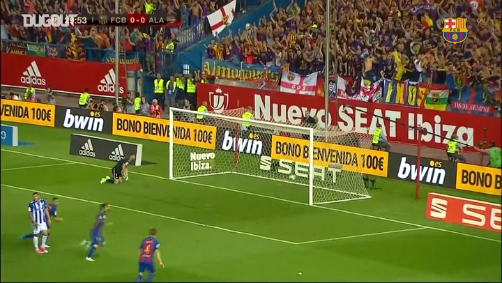 Barcelona win a third consecutive Copa del Rey title against Alaves