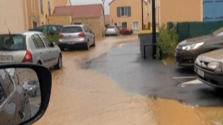 Neighborhood in France drenched after severe storm