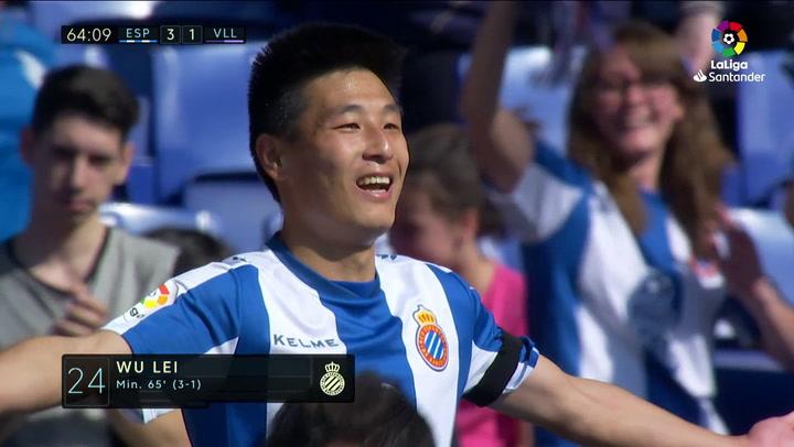 LaLiga: Espanyol - Valladolid. Gol de Wu Lei (3-1)