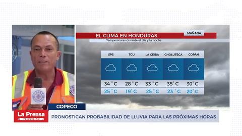 Pronostican probabilidad de lluvias para las próximas horas